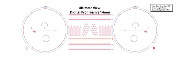 Progressive 14mm lens with measurements for them.